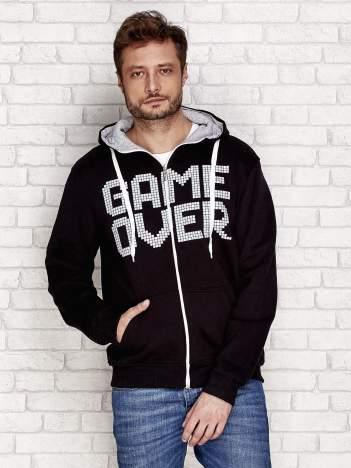 Ocieplana bluza z napisem GAME OVER i kapturem czarna