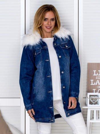 Ocieplana kurtka jeansowa z odpinanym futerkiem niebieska