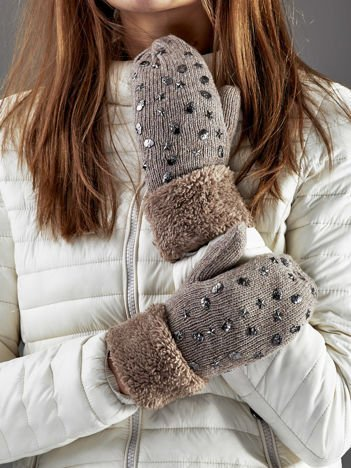 Ocieplane rękawiczki na jeden palec z ćwiekami ciemnobeżowe