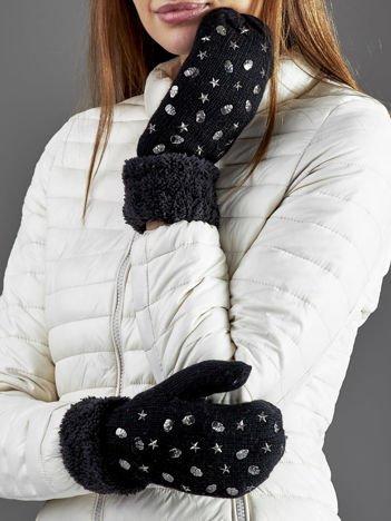 Ocieplane rękawiczki na jeden palec z ćwiekami czarne