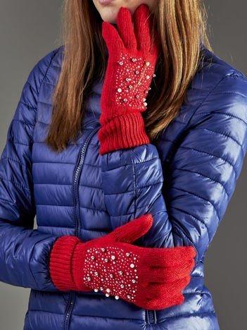 Ocieplane rękawiczki pięciopalczaste z perełkami czerwone