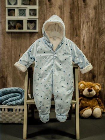Ocieplany kombinezon niemowlęcy w urocze misie niebieski