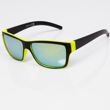 Okulary przeciwsłoneczne czarno-zielone w stylu NERDY lustrzanki szkło morskie