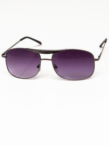 Okulary przeciwsłoneczne grafitowe męskie szkło fiolet system FLEX na zausznikach BARDZO WYGODNE
