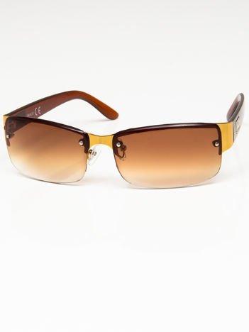 Okulary przeciwsłoneczne męskie złoto-brązowe szkło brązowe dymione