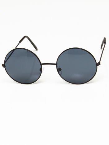 Okulary przeciwsłoneczne okrągłe w stylu LENONKI unisex czarne szkło szare