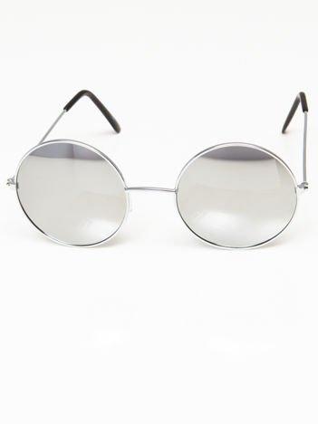 Okulary przeciwsłoneczne okrągłe w stylu LENONKI unisex srebrne szkło srebrne lustro