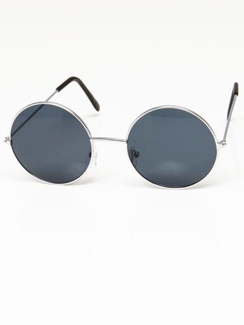 Okulary przeciwsłoneczne okrągłe w stylu LENONKI unisex srebrne szkło szare