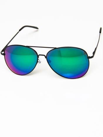 Okulary przeciwsłoneczne pilotki w stylu AVIATOR unisex czarne szkło zielono-niebieskie lustro system FLEX na zausznikach BARDZO WYGODNE