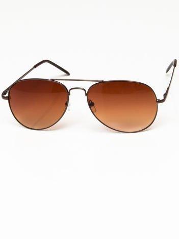 Okulary przeciwsłoneczne pilotki w stylu AVIATOR unisex szkło brązowe system FLEX na zausznikach BARDZO WYGODNE