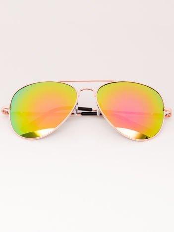 Okulary przeciwsłoneczne unisex Pilotki Lustrzanki złote Szkło pomarańczowo-zielone System flex