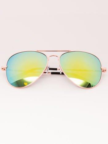Okulary przeciwsłoneczne unisex Pilotki Lustrzanki złote Szkło złoto-zielone System flex