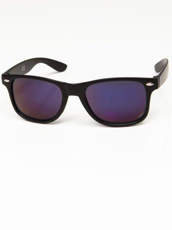 Okulary przeciwsłoneczne w stylu NERDY czarne lustrzanki niebiesko-szare