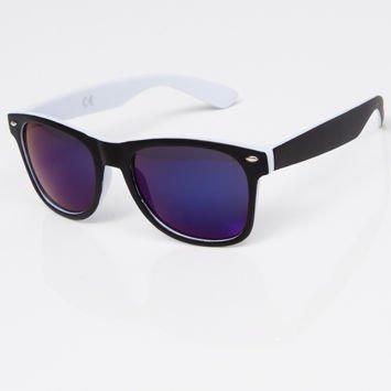 Okulary przeciwsłoneczne w stylu WAYFARER biało-czarne szkło lustrzanka ciemnoniebieska