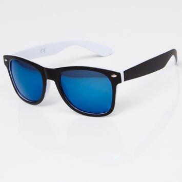 Okulary przeciwsłoneczne w stylu WAYFARER biało-czarne szkło lustrzanka niebieska