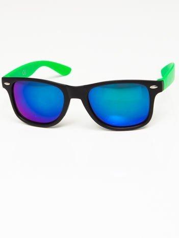 Okulary przeciwsłoneczne w stylu WAYFARER czarno-zielone lustrzanki niebiesko-zielone