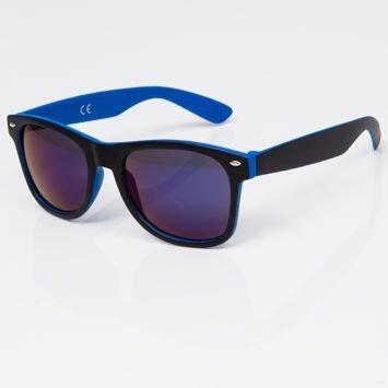 Okulary przeciwsłoneczne w stylu WAYFARER niebiesko-czarne szkło lustrzanka ciemnoniebieska