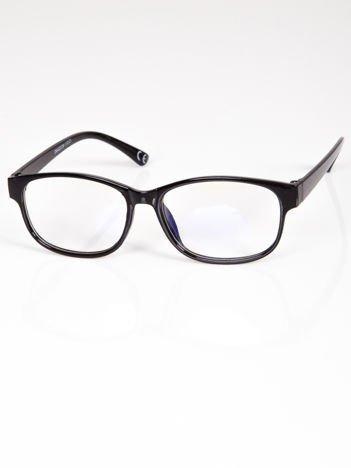 Okulary zerówki z antyrefleksem czarne ramki z połyskiem