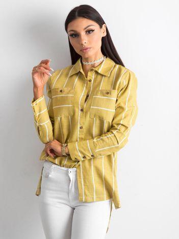 Oliwkowa koszula w paski