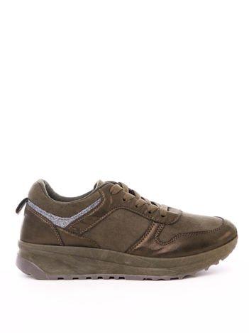 Oliwkowe buty sportowe z brokatową wstawką