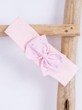 Opaska elastyczna dla dziewczynki z kokardką i cyrkoniami jasnoróżowa