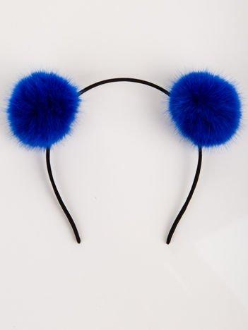 Opaska  z niebieskimi puchatymi pomponami