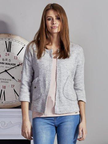 Otwarty sweter z kieszeniami szary