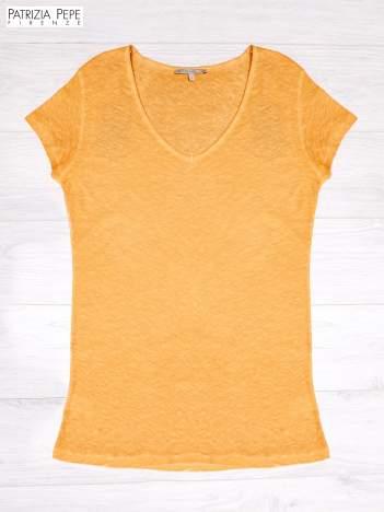 PATRIZIA PEPE Pomarańczowy t-shirt z trójkątnym dekoltem