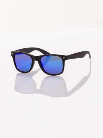POLARYZACJA Czarne okulary przeciwsłoneczne typu WAYFARER NERD MAT LUSTRZANKA