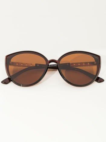 PREMIUM Brązowe przeciwsłoneczne damskie okulary POLARYZACYJNE