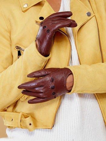 PREMIUM QUALITY Brązowe Ocieplane Skórzane Damskie Rękawiczki CAŁUSKI