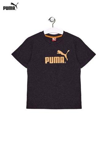 PUMA Ciemnoszary t-shirt chłopięcy z nadrukiem