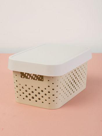 Pastelowe ecru pudełko do przechowywania z pokrywką
