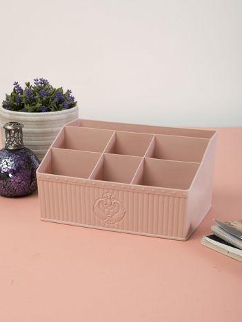 Pastelowy różowy organizer do łazienki i na biurko