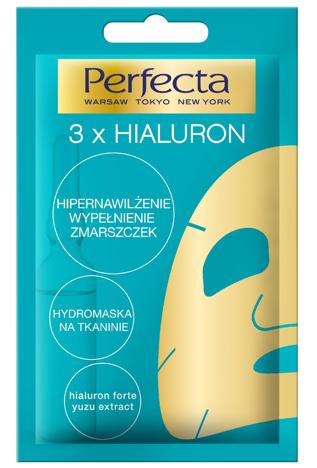 Perfecta HydroMaska na tkaninie 3 x Hialuron  Hipernawilżenie i wypełnienie zmarszczek