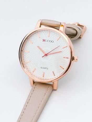 Perłowo złoty zegarek damski