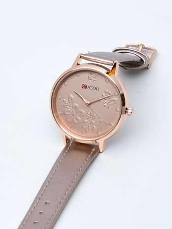 Perłowo złoty zegarek damski z kwiatami na tarczy