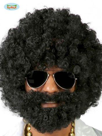 Peruka afro z brodą czarna