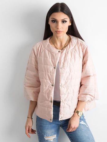 Pikowana kurtka damska brzoskwiniowa