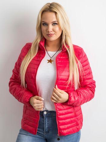 Pikowana kurtka plus size czerwona