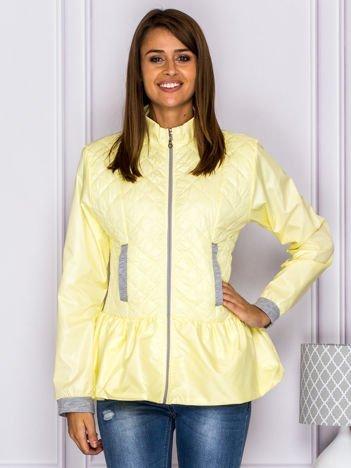 Pikowana kurtka przejściowa z baskinką żółta