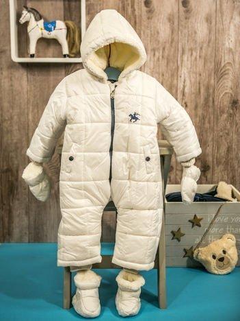 Pikowany zimowy kombinezon dziecięcy biały