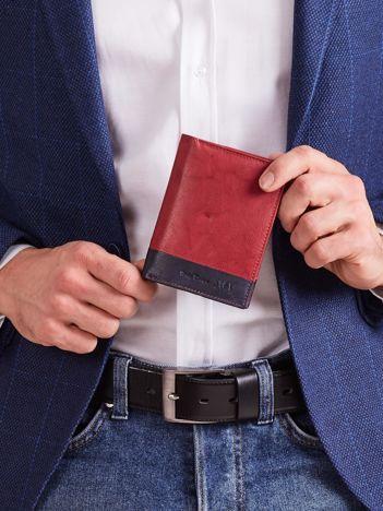 Pionowy portfel męski bez zapięcia czerwony