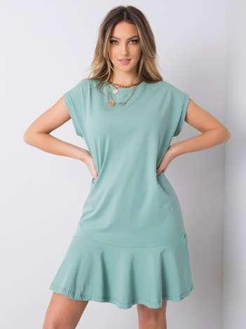 Pistacjowa sukienka z falbaną River
