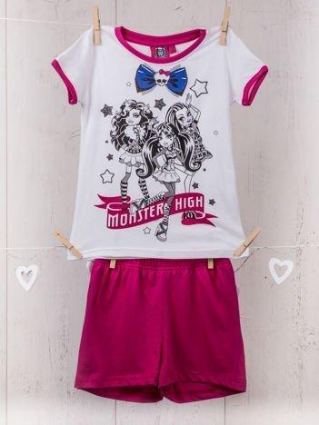 Piżama dziewczęca z nadrukiem MONSTER HIGH biała