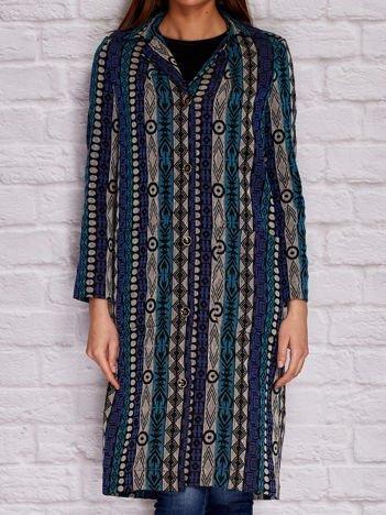 Płaszcz damski w etniczne wzory