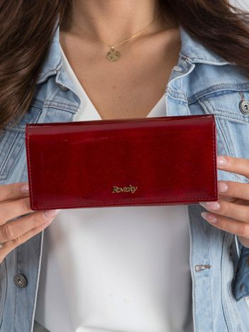 Podłużny lakierowany portfel czerwony