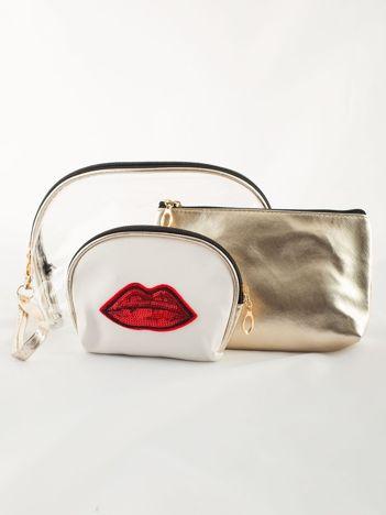 Podróżny zestaw kosmetyczek złoto-biały 3 sztuki