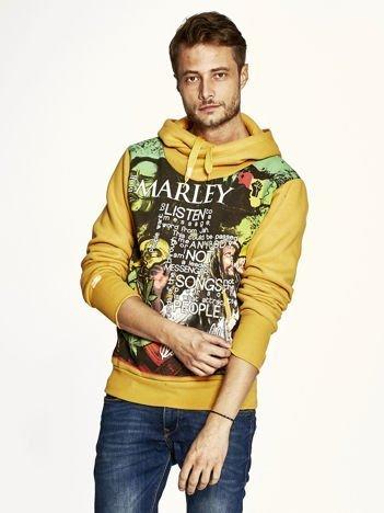 Pomarańczowa bluza męska z kapturem z nadrukiem reggae