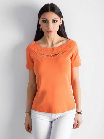 Pomarańczowa bluzka z wycięciami